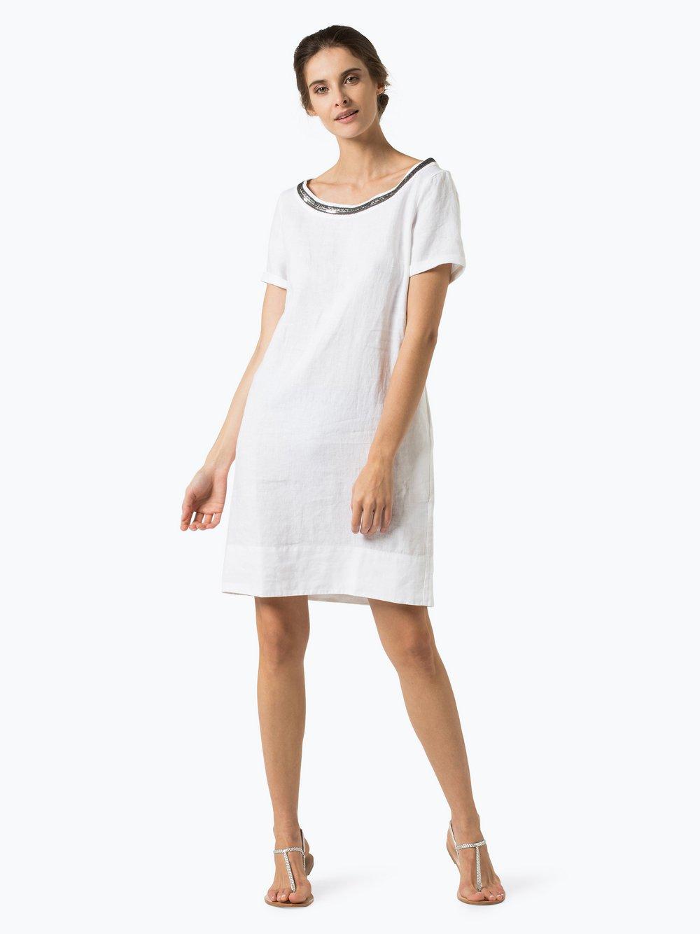 0039 Italy Damen Kleid aus Leinen - Holiday Eve weiß uni online ...