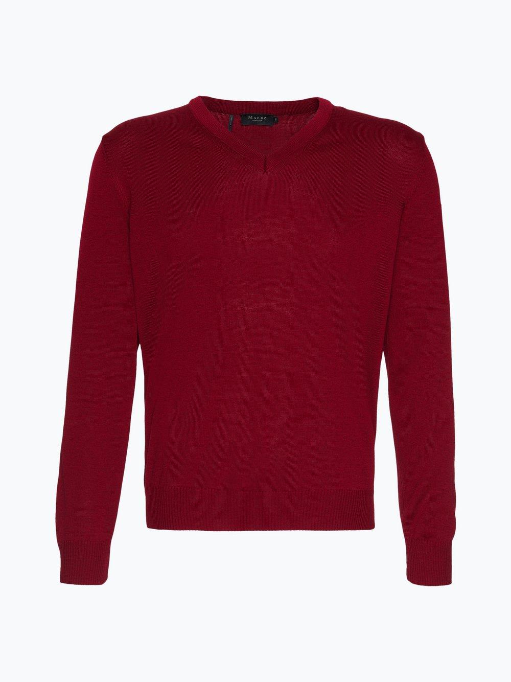 März - Męski sweter z wełny merino, czerwony