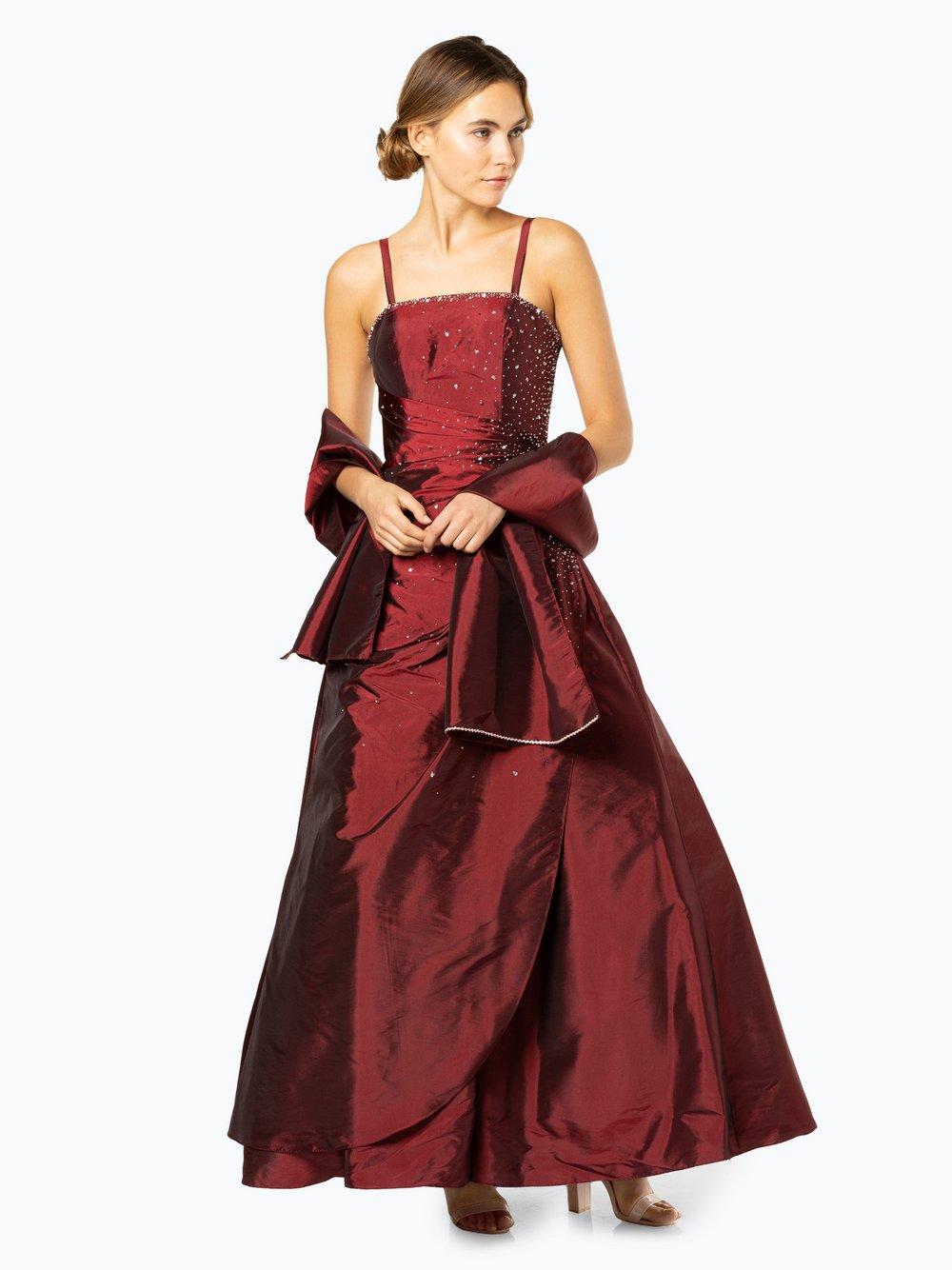 Luxuar Fashion - Damska sukienka wieczorowa z etolą, czerwony