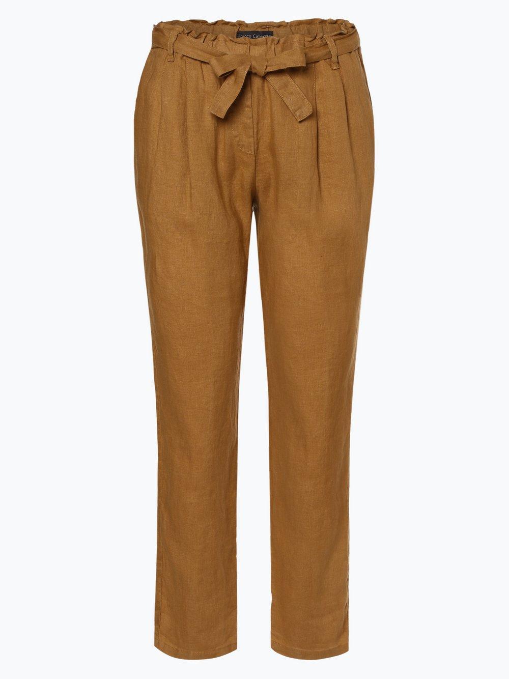 Franco Callegari - Damskie spodnie lniane, żółty