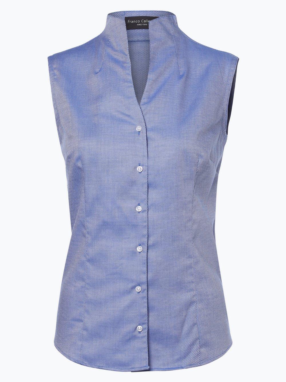 Franco Callegari - Bluzka damska łatwa w prasowaniu, niebieski
