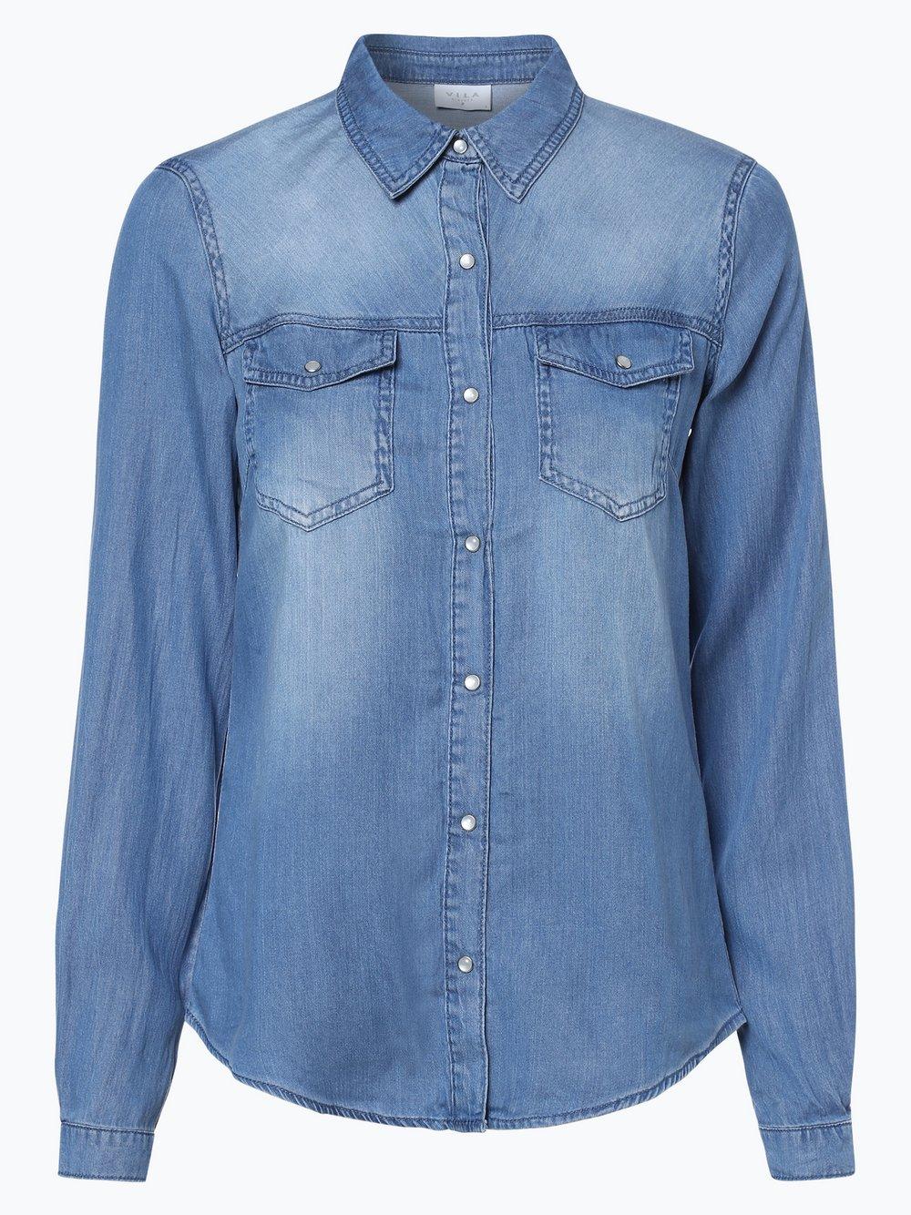 Vila - Damska koszula jeansowa – Vibista, niebieski
