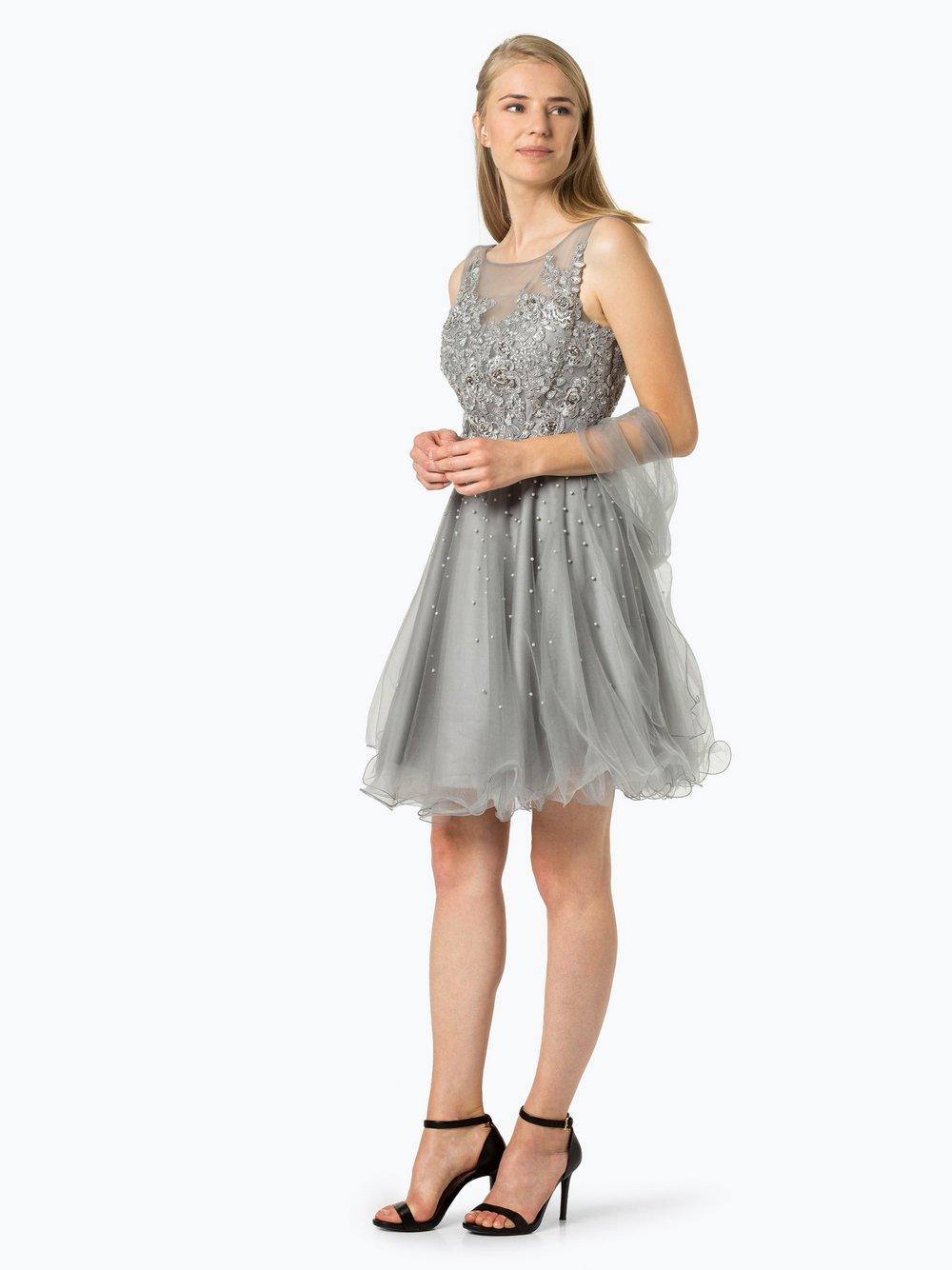 Luxuar Fashion – Damska sukienka wieczorowa z etolą, szary Van Graaf 401645-0001-00320