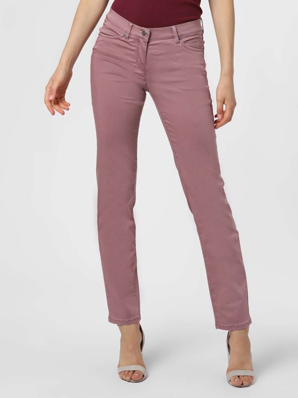 TONI – Spodnie damskie – Perfect Shape Slim, różowy Van Graaf 406306-0002-00460