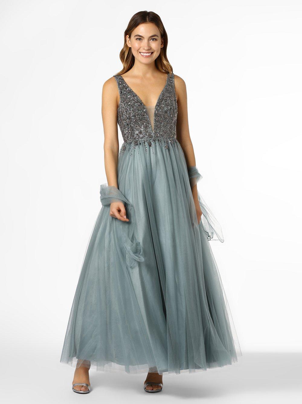 Unique – Damska sukienka wieczorowa z etolą, zielony Van Graaf 419647-0003-00380