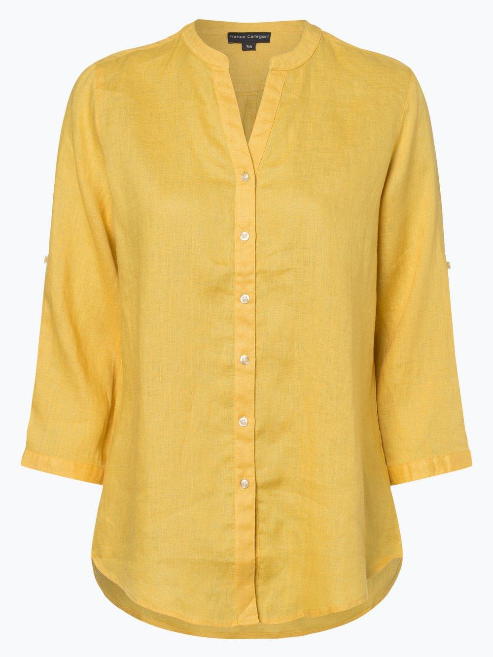 Franco Callegari - Damska bluzka lniana, żółty