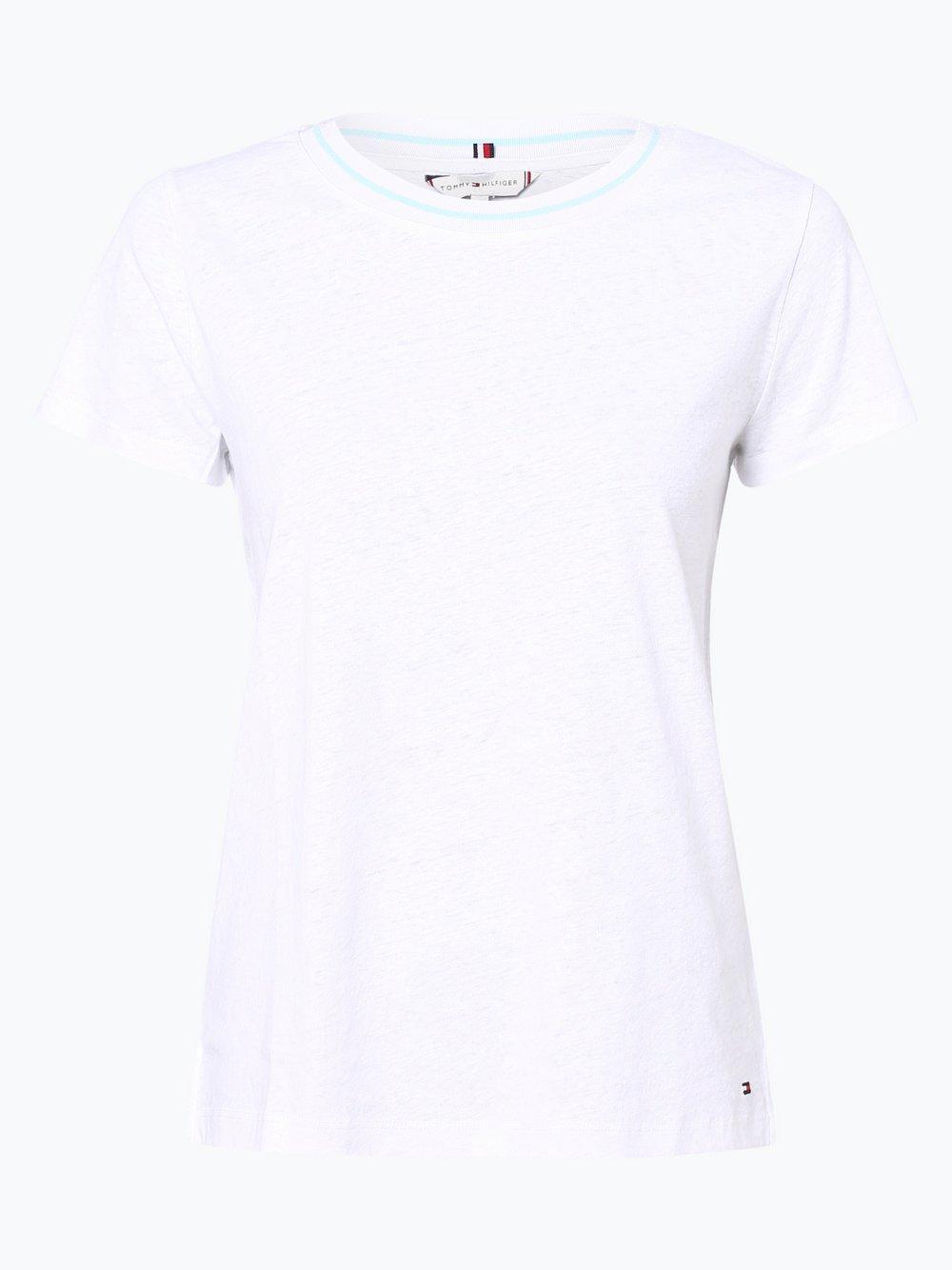 Tommy Hilfiger - T-shirt damski z dodatkiem lnu – Ellen, biały