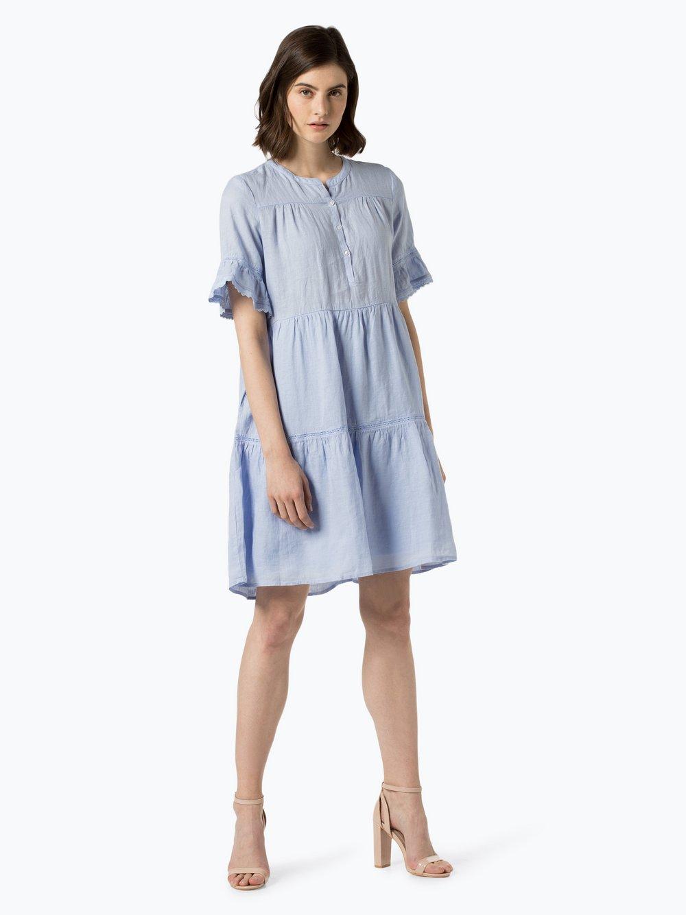 0039 Italy - Damska sukienka lniana, niebieski