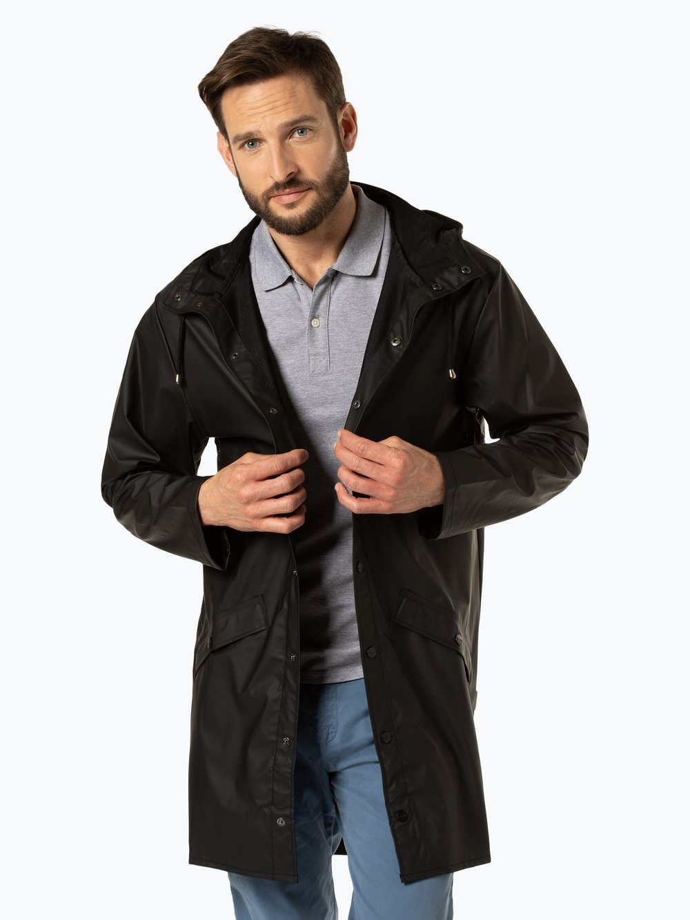 RAINS – Męski płaszcz funkcyjny, czarny Van Graaf 431200-0001