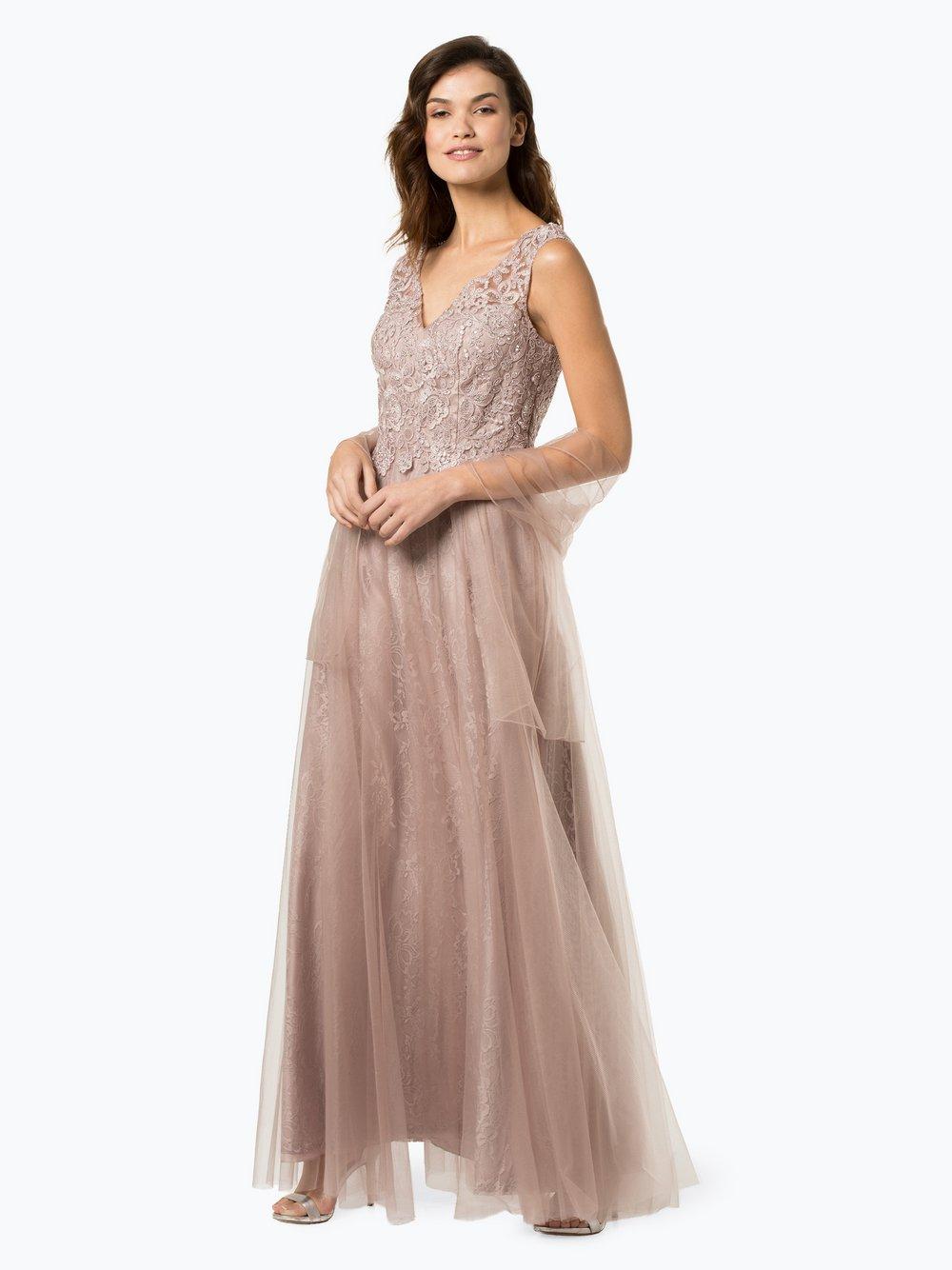 Luxuar Fashion – Damska sukienka wieczorowa z etolą, beżowy Van Graaf 433229-0001-00340