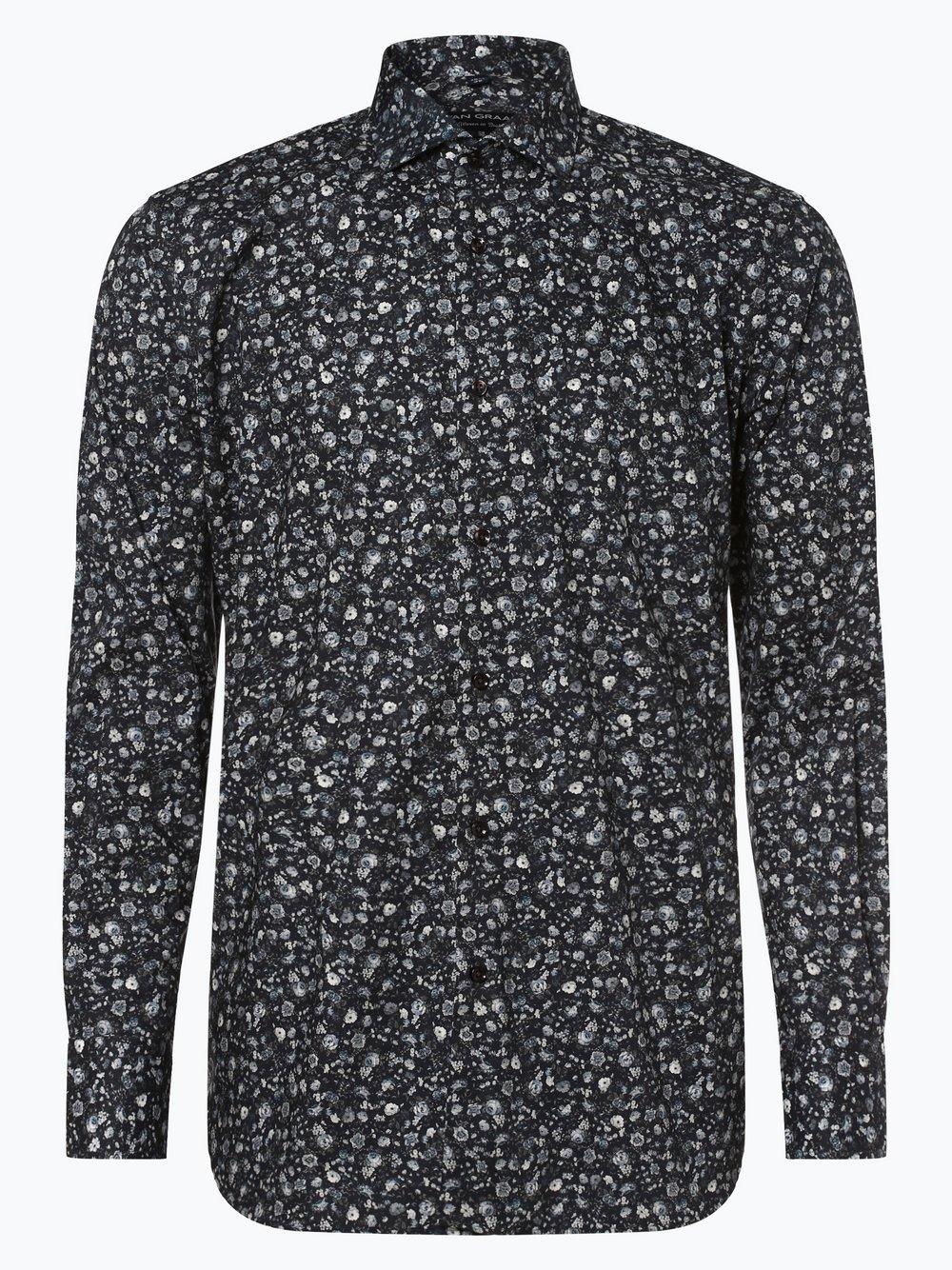 Van Graaf - Męska koszula z poszetką, niebieski