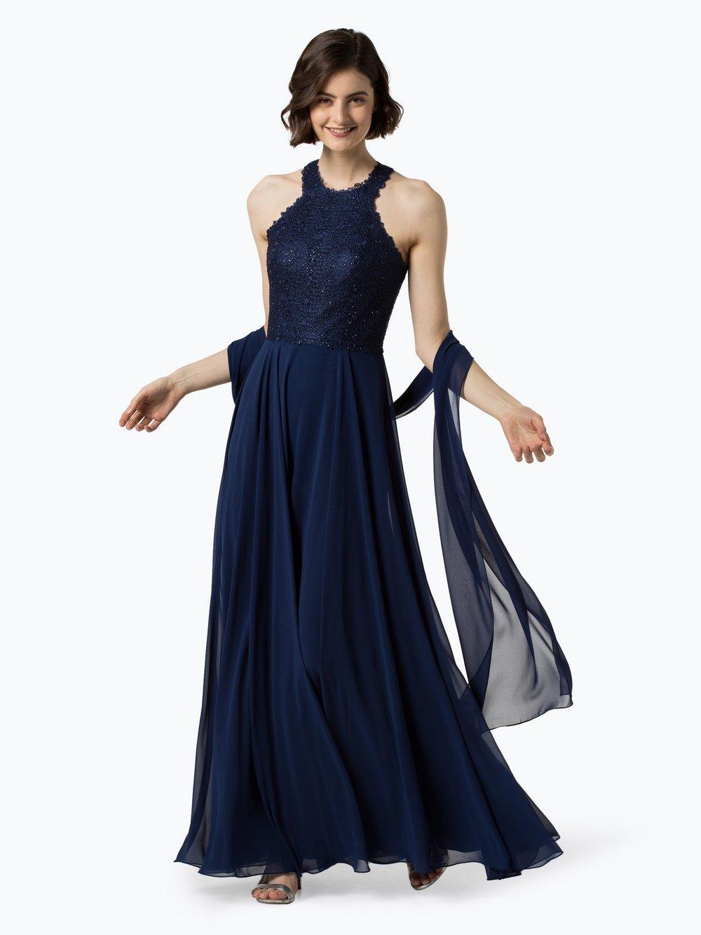 Luxuar Fashion – Damska sukienka wieczorowa z etolą, niebieski Van Graaf 441614-0002-00340
