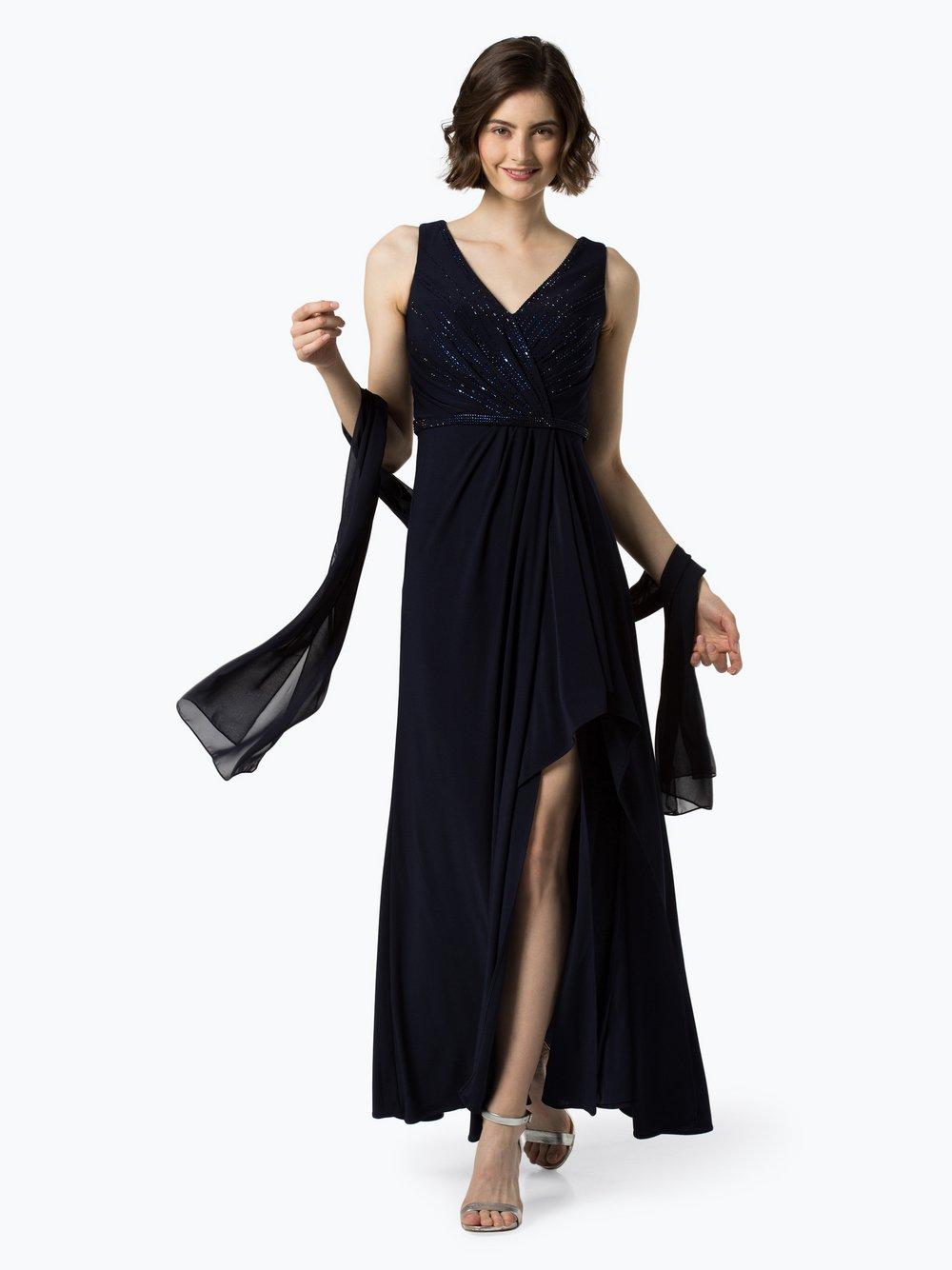 Luxuar Fashion – Damska sukienka wieczorowa z etolą, niebieski Van Graaf 441635-0001-00380