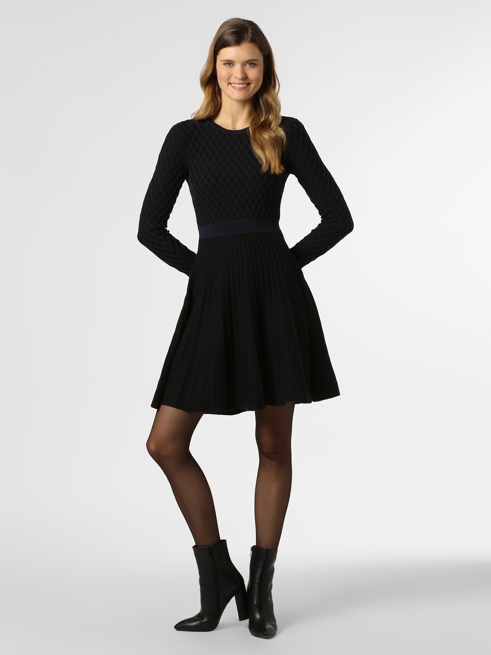 BOSS Casual - Sukienka damska z domieszką jedwabiu – Wedressy, niebieski BOSS