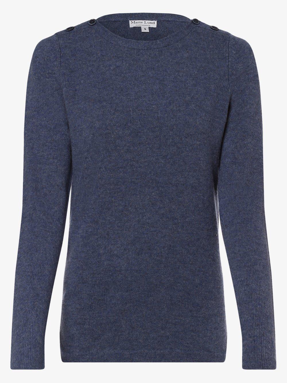 Marie Lund - Damski sweter z wełny merino, niebieski