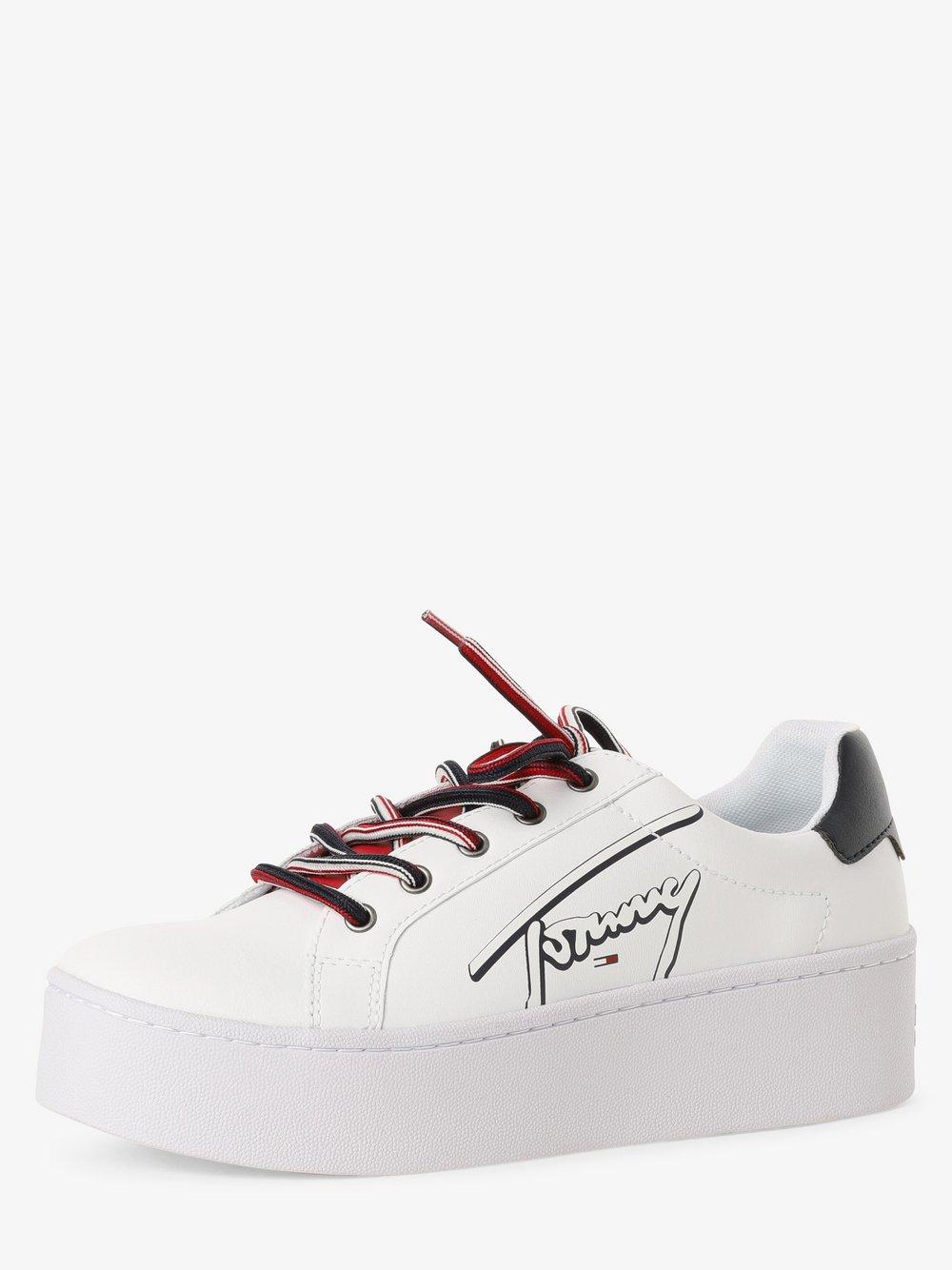 Tommy Jeans - Tenisówki damskie z dodatkiem skóry, biały