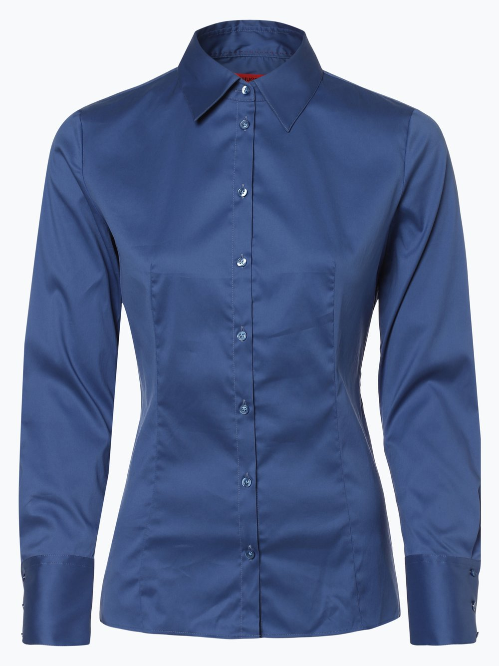 HUGO - Bluzka damska – The Fitted Shirt, niebieski