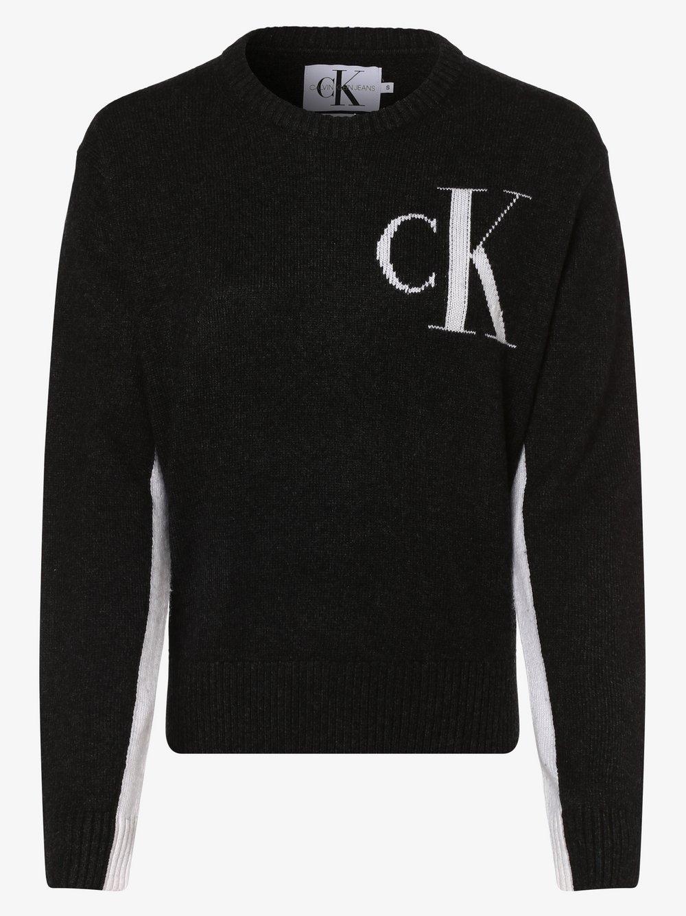 Calvin Klein Jeans - Sweter damski z dodatkiem kaszmiru, szary