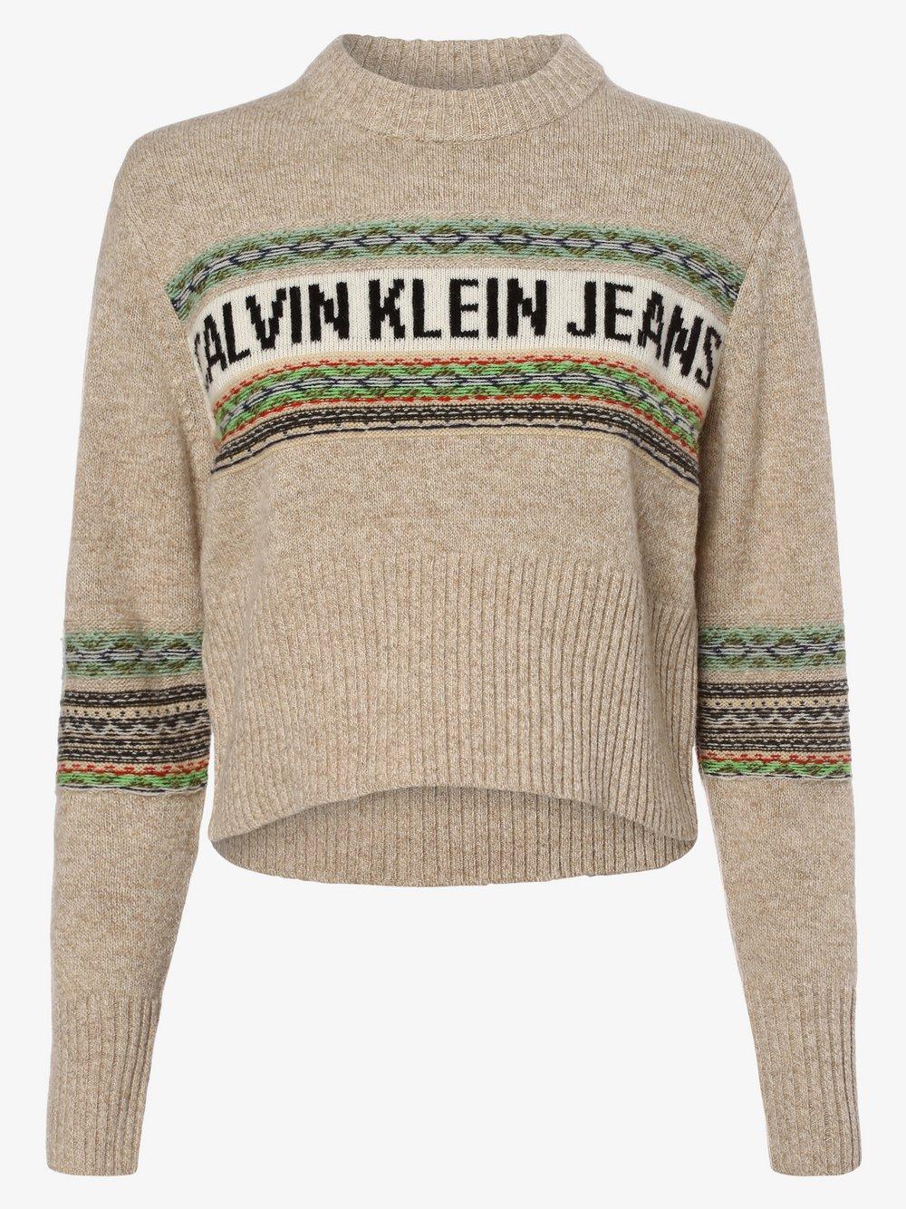 Calvin Klein Jeans - Sweter damski, beżowy