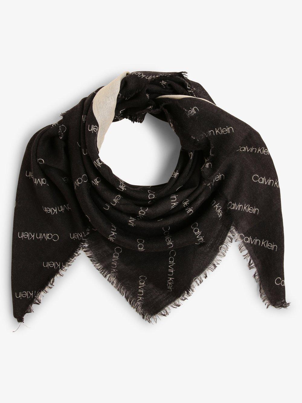 Calvin Klein - Chusta damska z dodatkiem jedwabiu, czarny