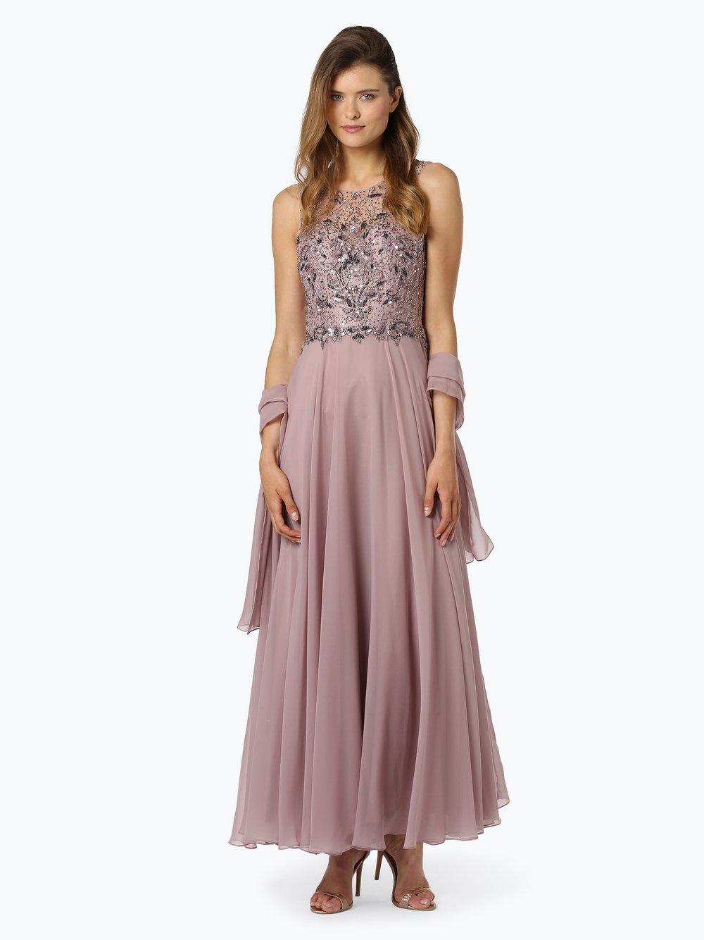 Unique – Damska sukienka wieczorowa z etolą, różowy Van Graaf 444666-0001