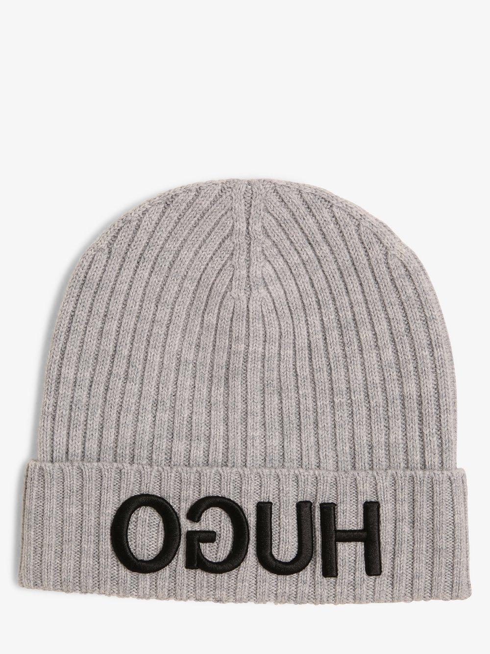 HUGO - Wełniana czapka – Unisex-X565, szary HUGO