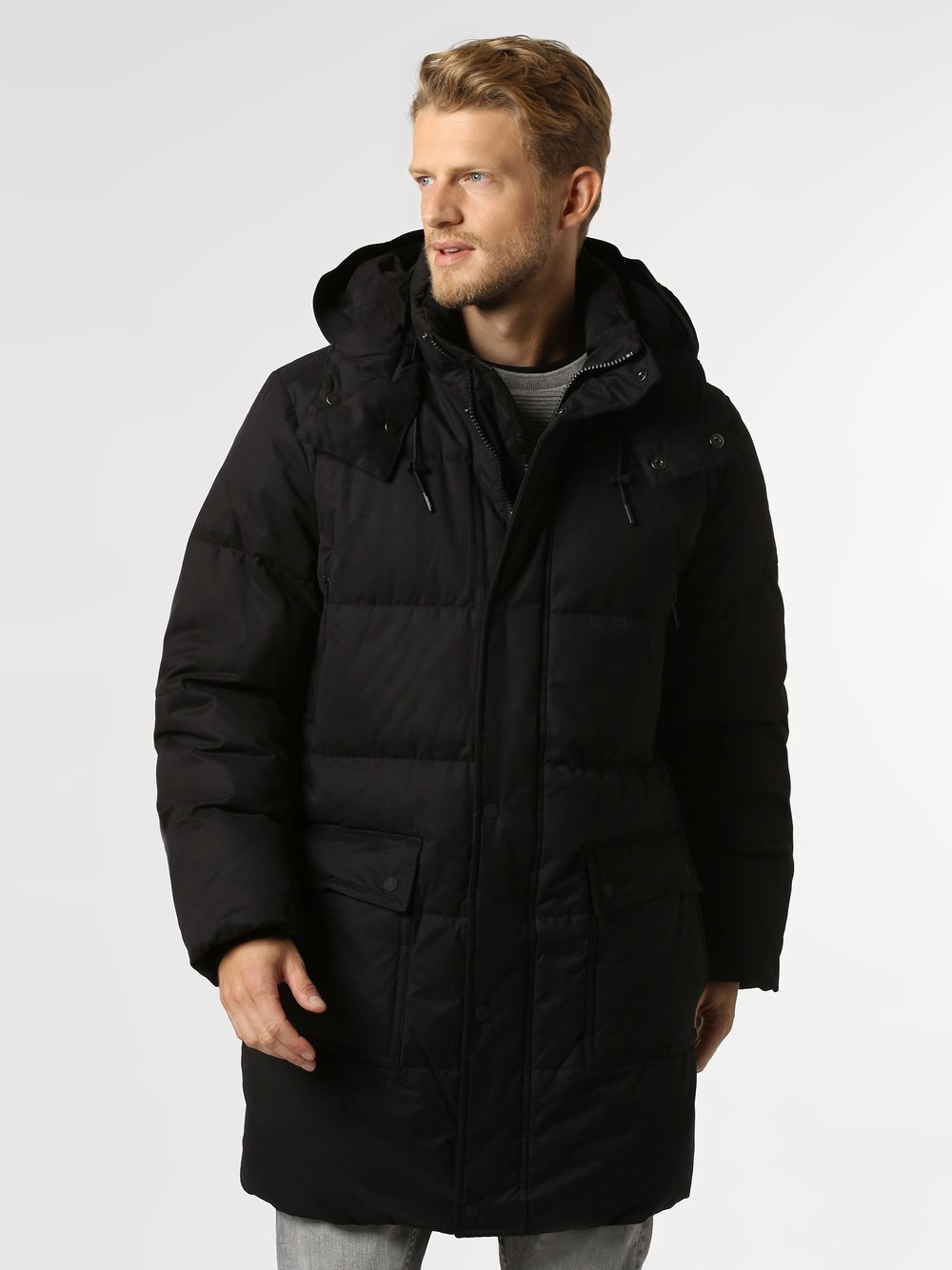 Calvin Klein - Męski płaszcz pikowany, czarny