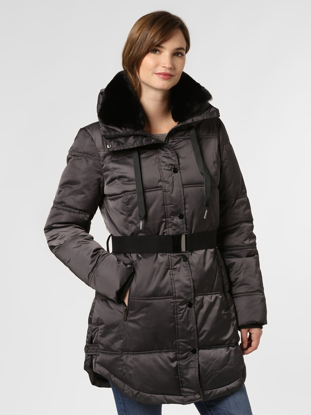 Marie Lund - Damski płaszcz pikowany, szary