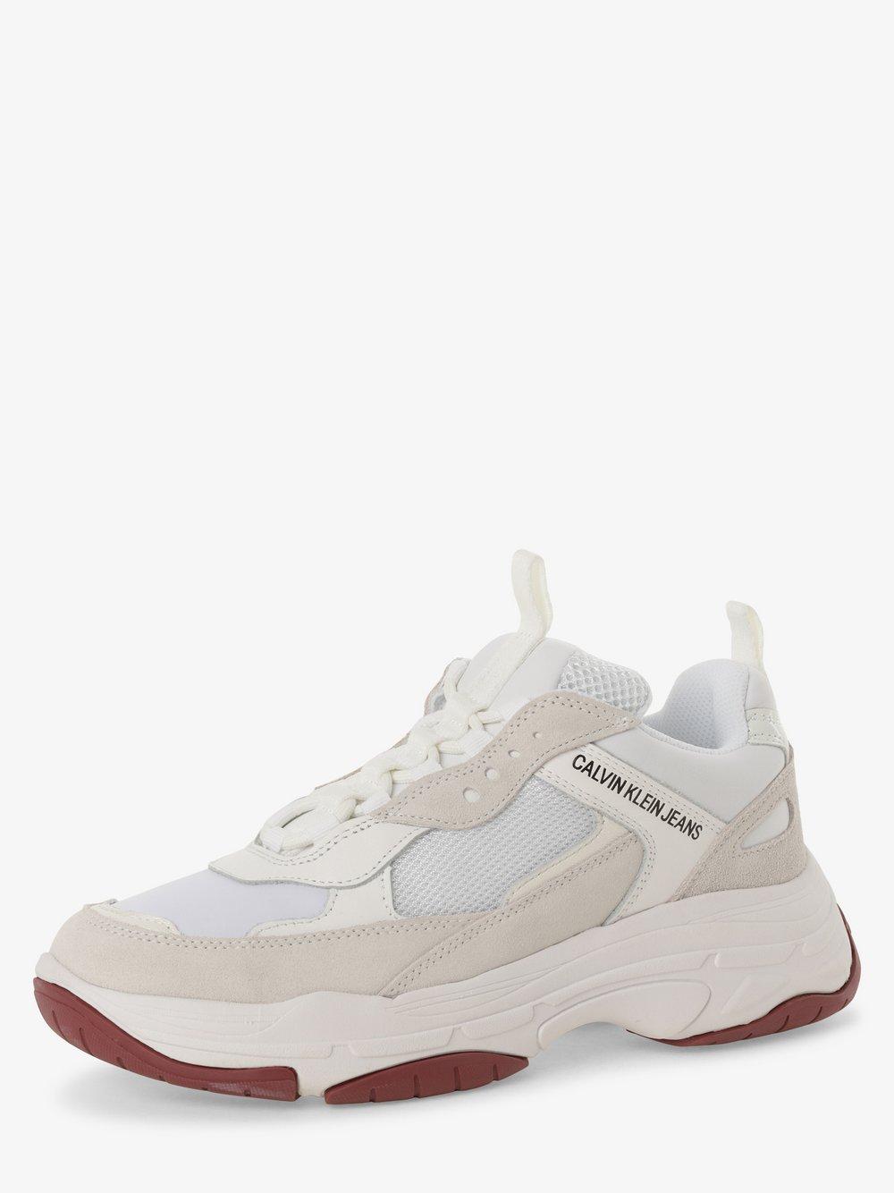 Calvin Klein Jeans - Tenisówki damskie z dodatkiem skóry, biały