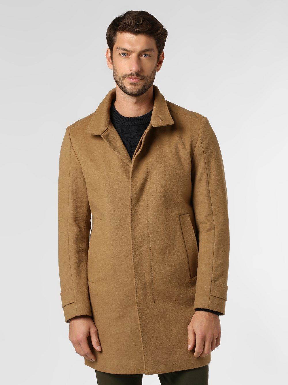 Strellson - Płaszcz męski z dodatkiem kaszmiru, beżowy