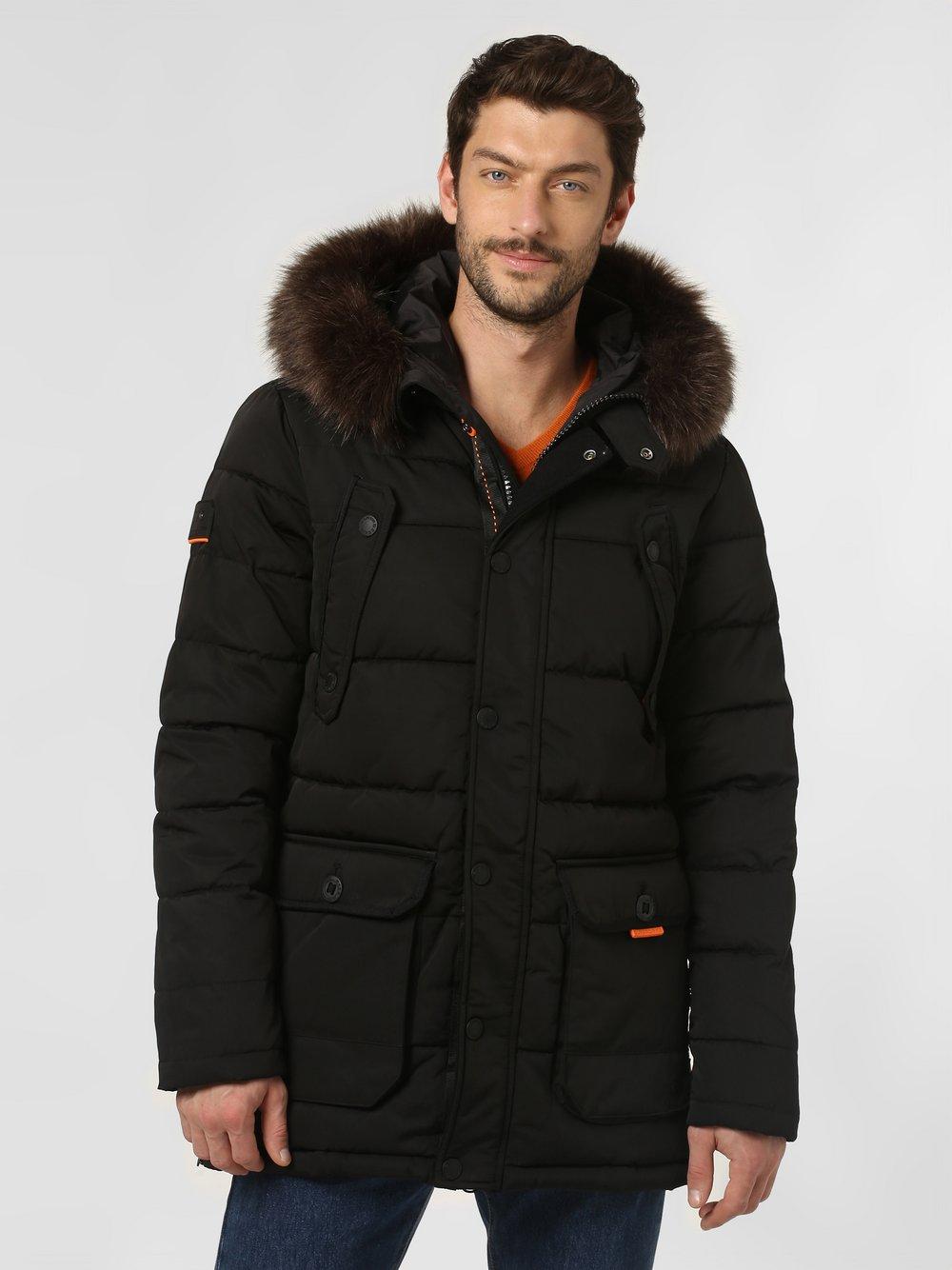 Superdry - Męski płaszcz pikowany – Chinook Parka, czarny