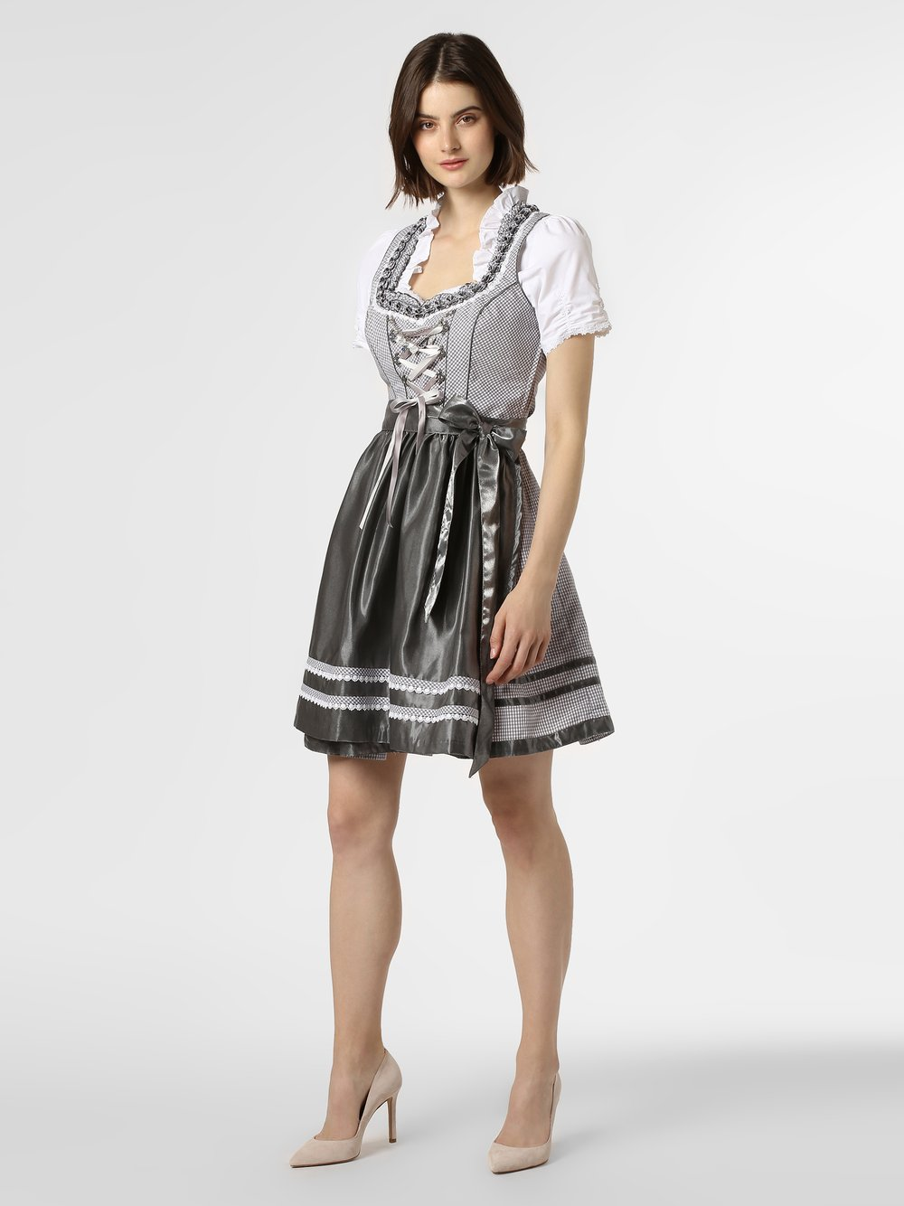 Alpenfeeling - Ludowa sukienka damska, szary