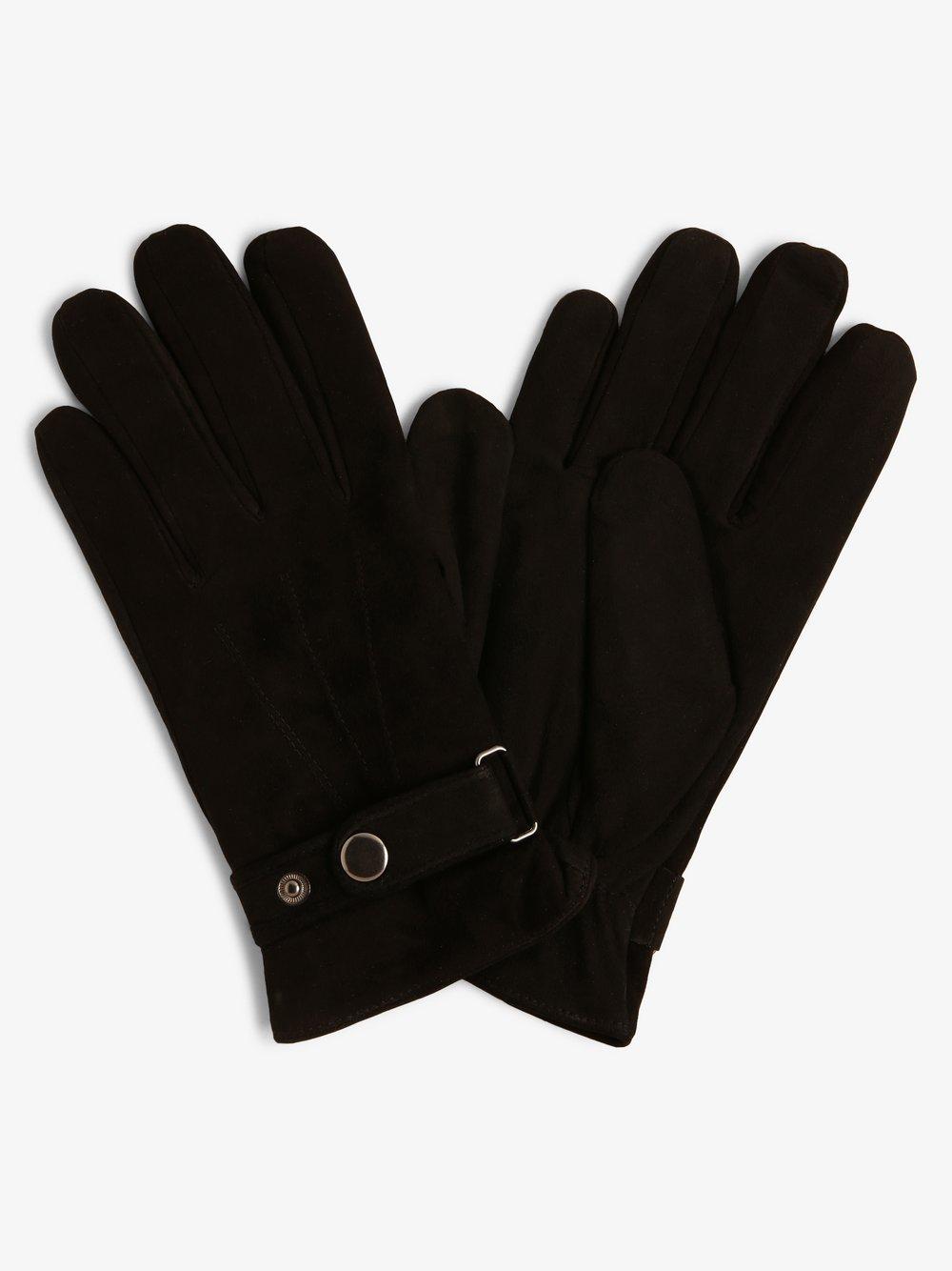 eem – Skórzane rękawiczki męskie, czarny Van Graaf 451418-0001-09920
