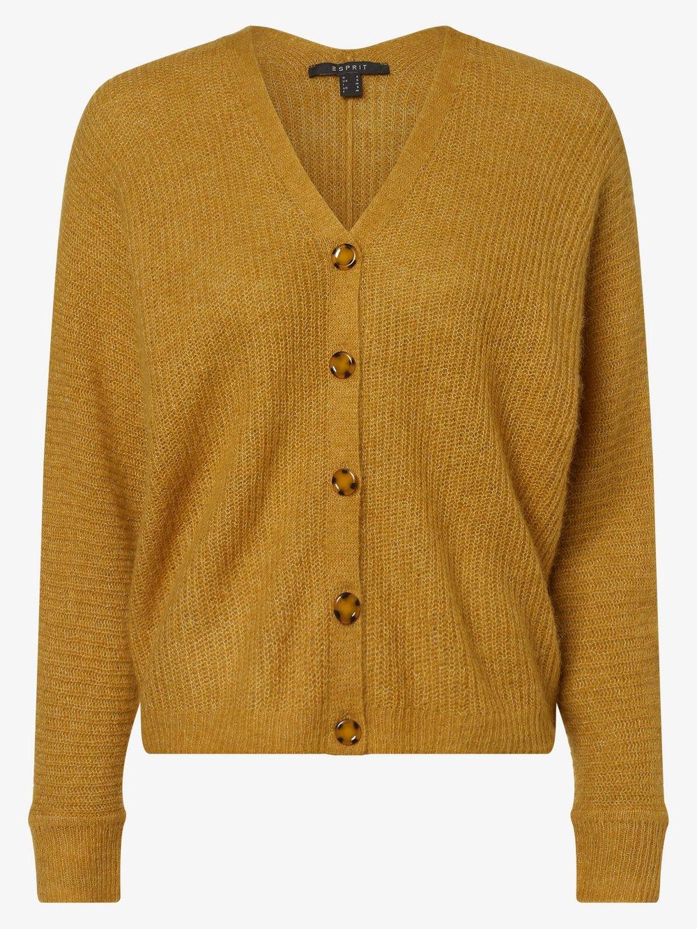 Esprit Collection - Kardigan damski z dodatkiem alpaki, żółty