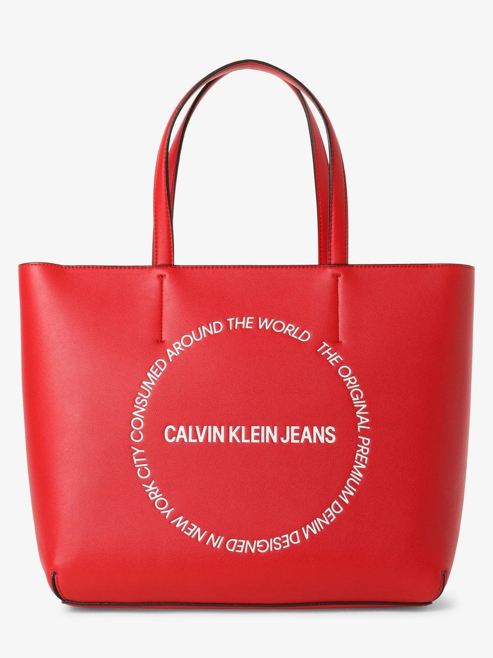 Calvin Klein Jeans - Damska torba shopper, czerwony