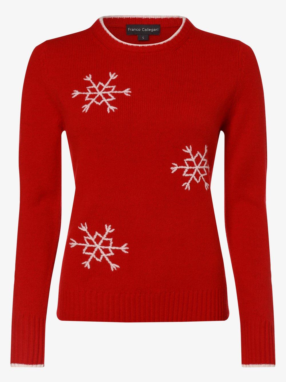 Franco Callegari - Sweter damski z domieszką wełny merino, czerwony
