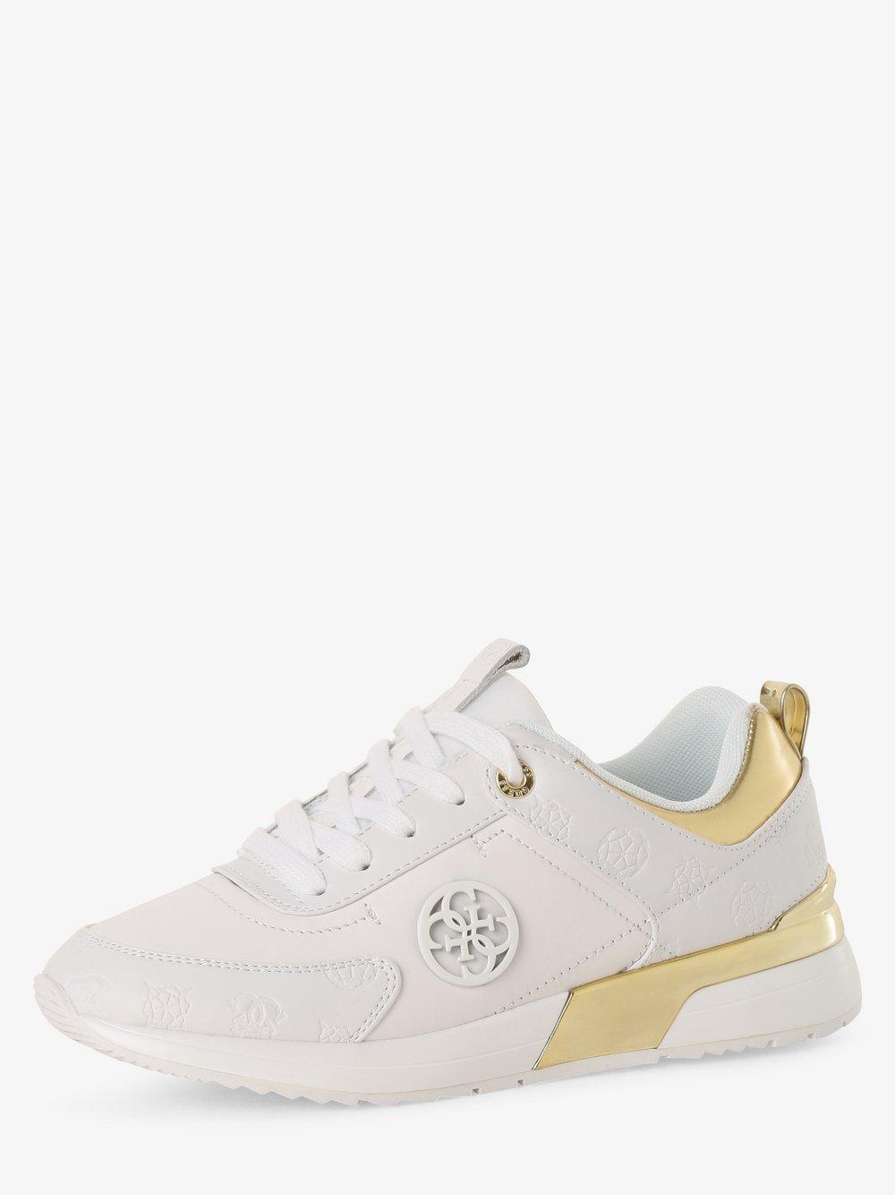 Guess Jeans - Tenisówki damskie z dodatkiem skóry, biały