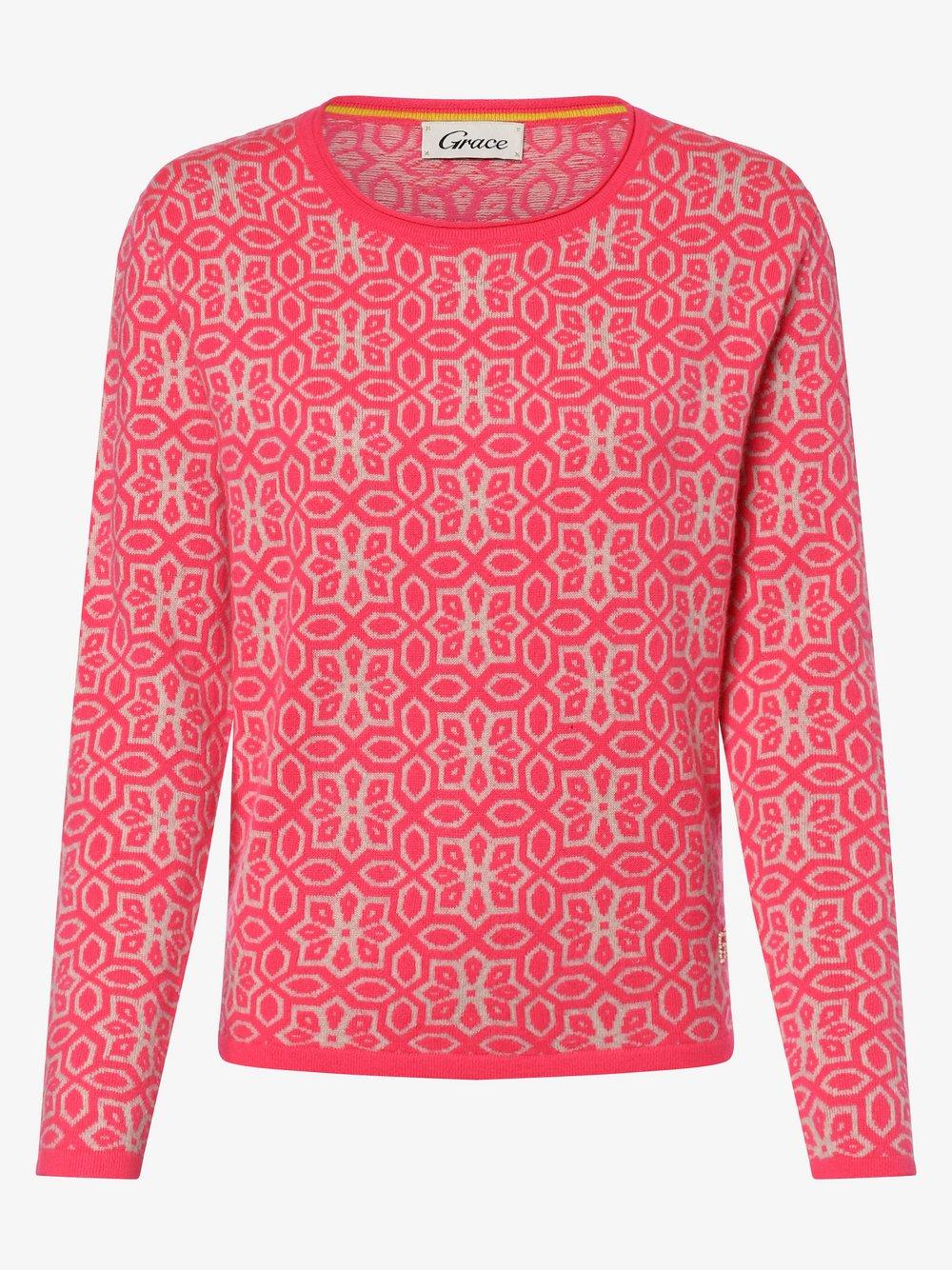 Grace – Sweter damski z dodatkiem wełny merino i kaszmiru, różowy Van Graaf 458242-0001-09900
