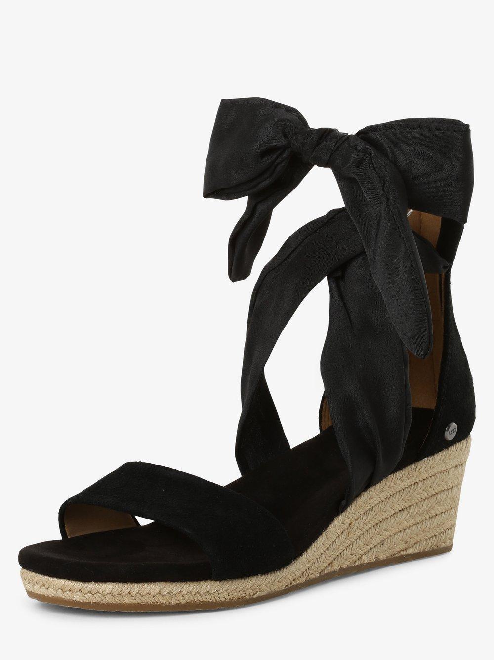 UGG - Sandały damskie z dodatkiem skóry – Trina, czarny