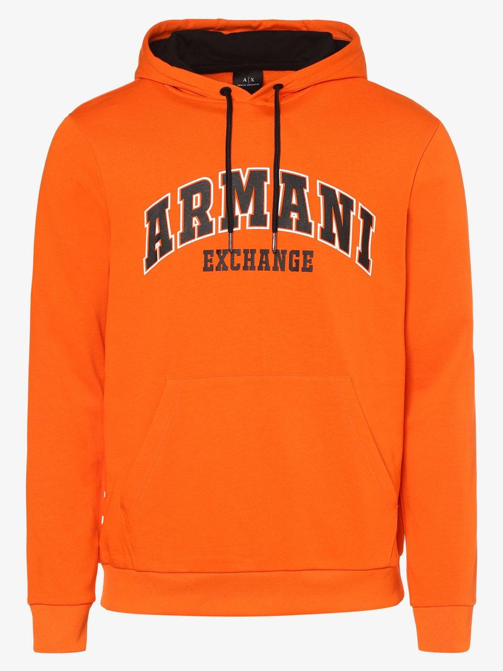 Armani Exchange - Męska bluza nierozpinana, pomarańczowy