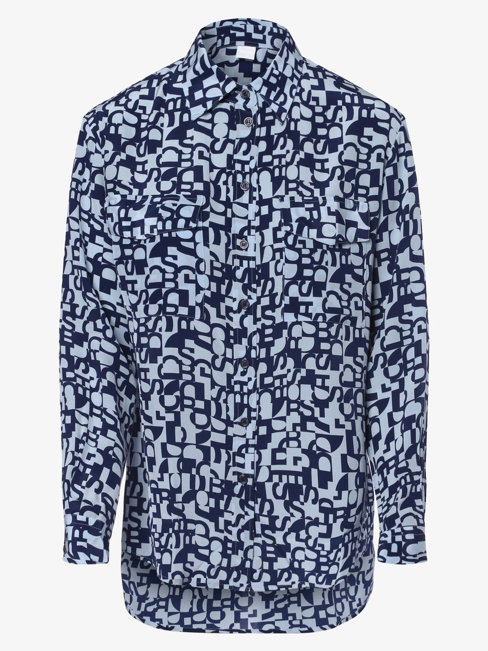 BOSS Casual – Bluzka damska z jedwabiu – Civenti, niebieski Van Graaf 460923-0001-00420