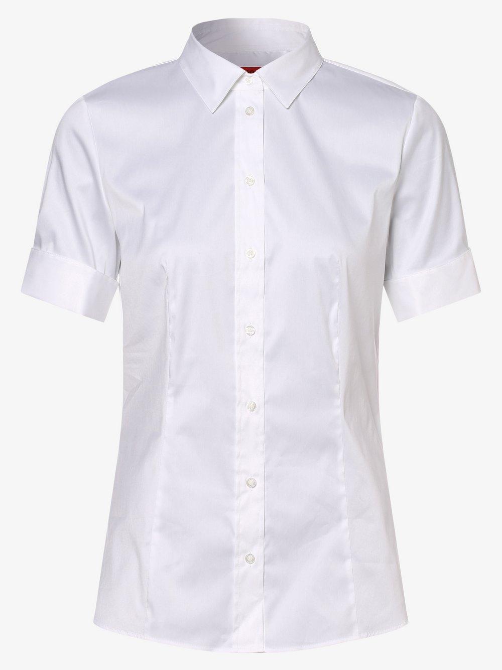 HUGO - Bluzka damska z zawijanymi mankietami – łatwa w prasowaniu – Eshila, biały