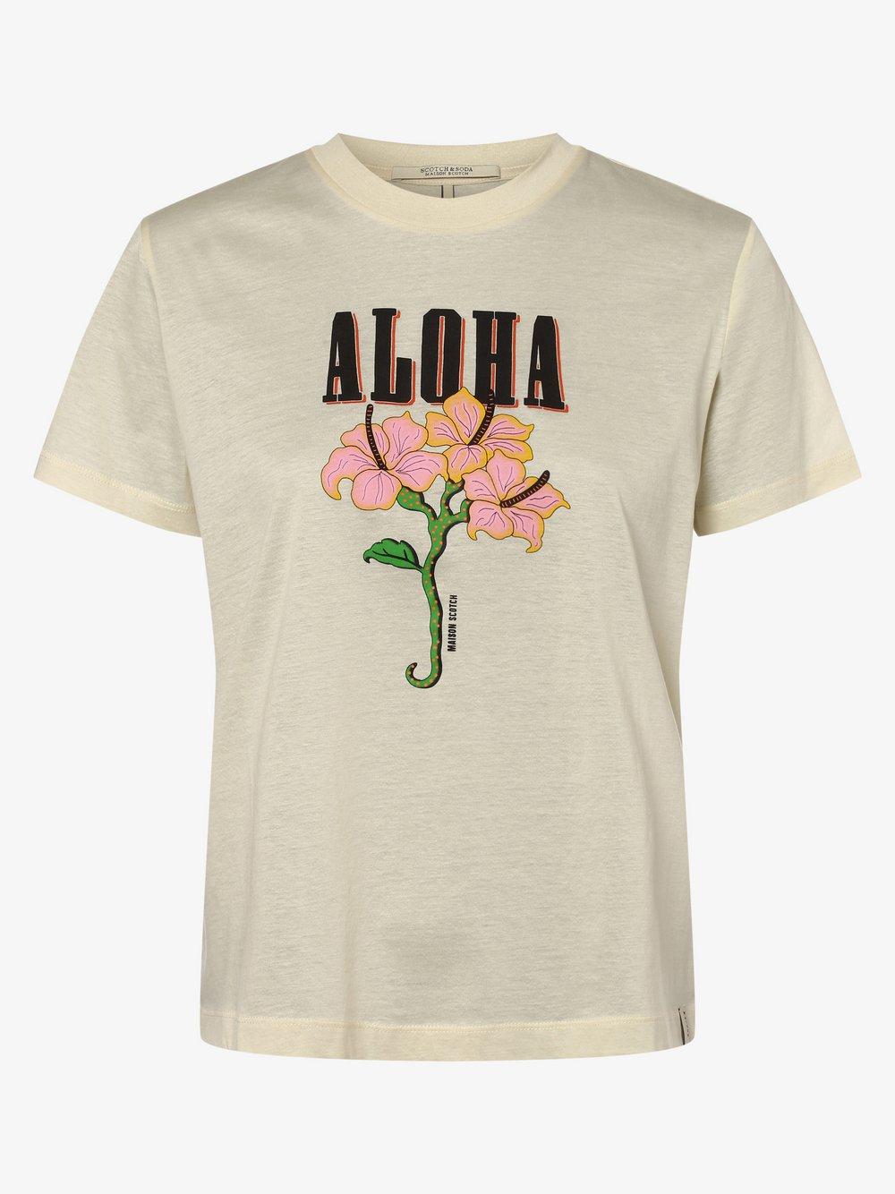 Scotch & Soda - T-shirt damski, beżowy