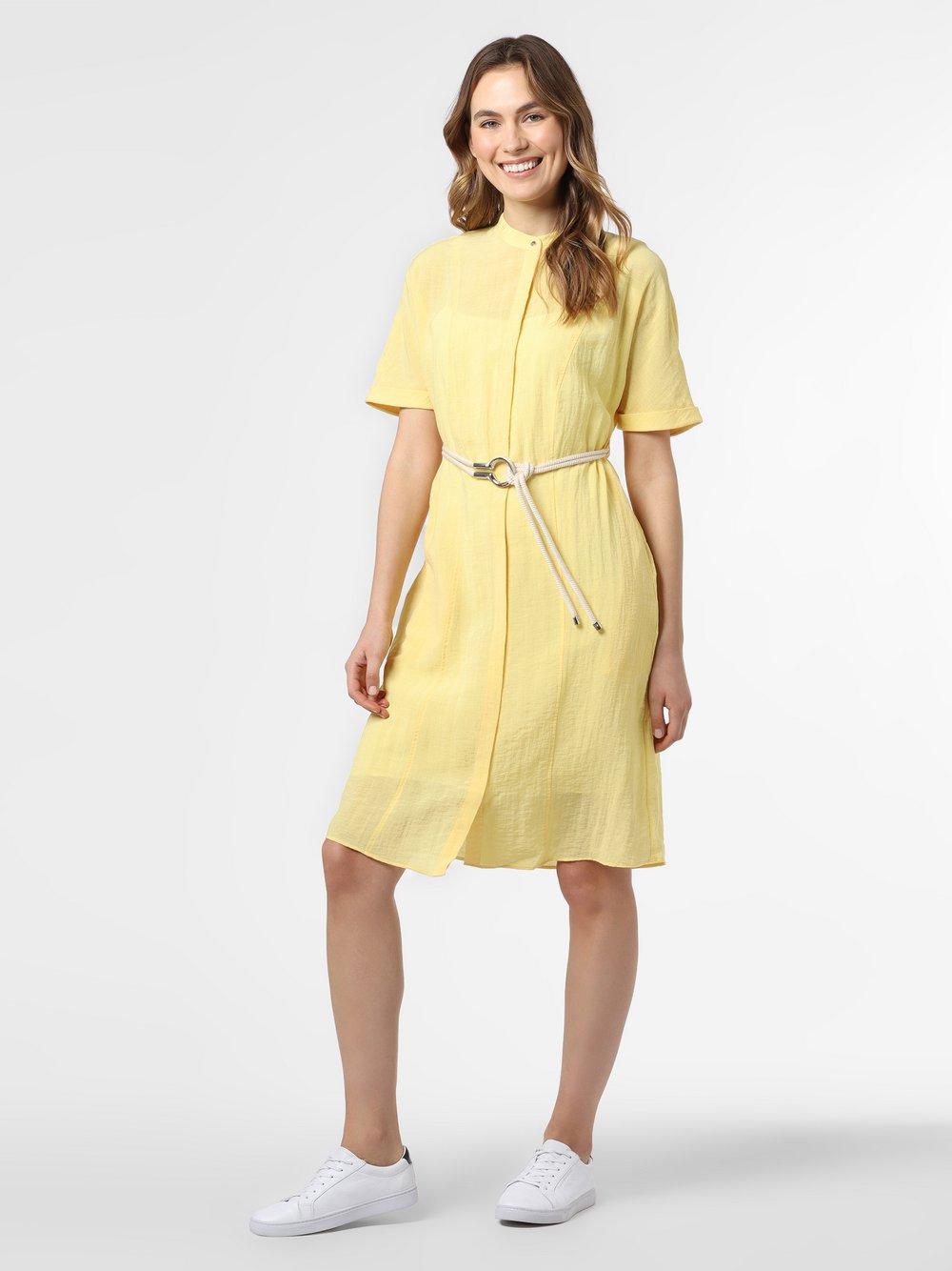 HUGO - Sukienka damska z domieszką lnu – Eginny, żółty