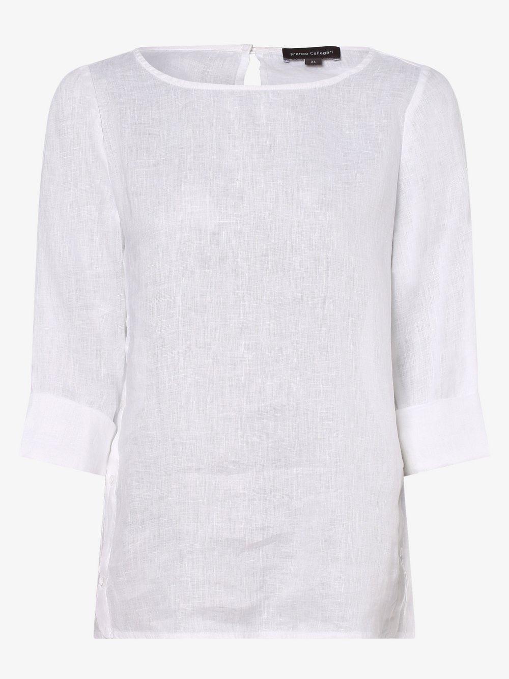 Franco Callegari – Bluzka damska z lnu, biały Van Graaf 462663-0001