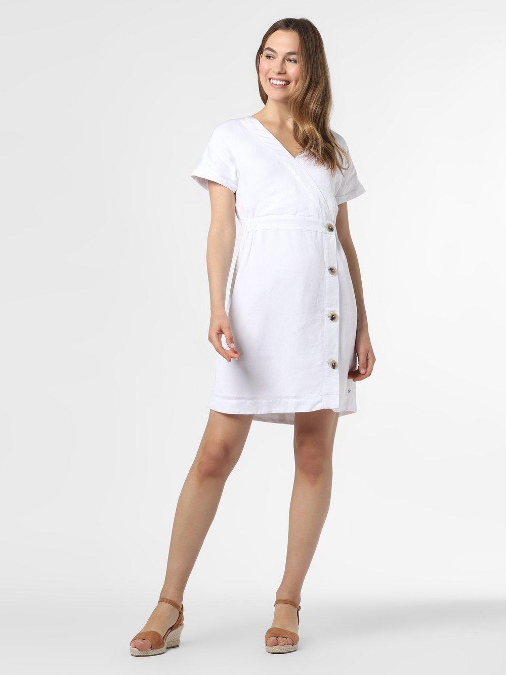 Tommy Hilfiger - Sukienka damska z domieszką lnu, biały
