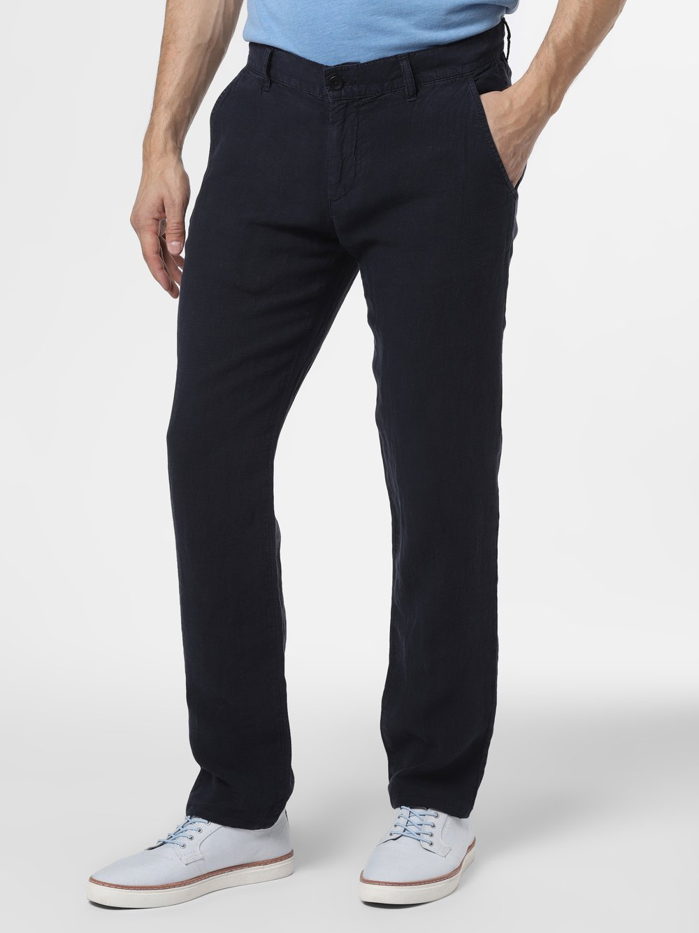 Alberto – Męskie spodnie lniane, niebieski Van Graaf 463335-0003-03232