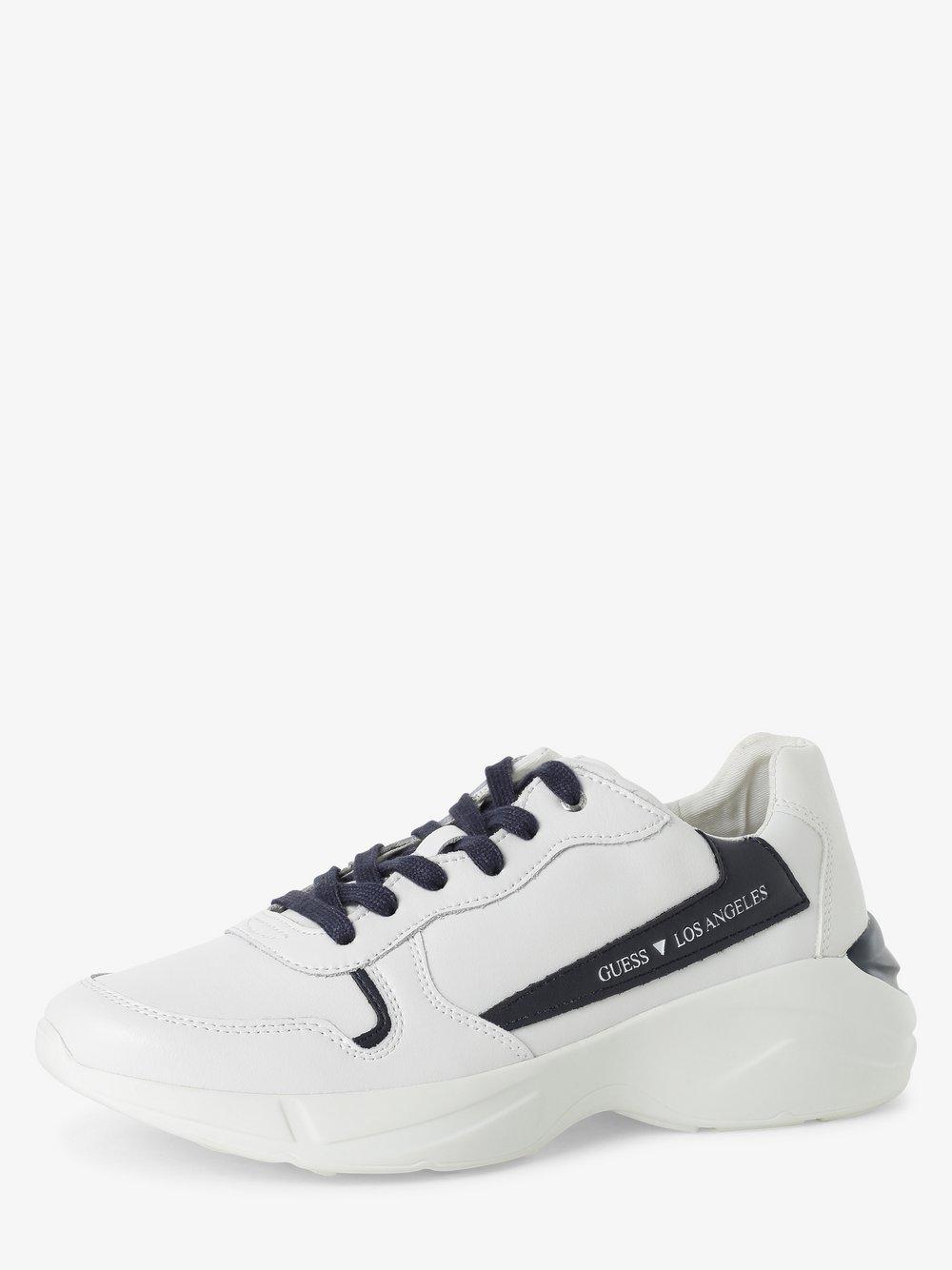Guess Jeans - Męskie tenisówki ze skóry, biały