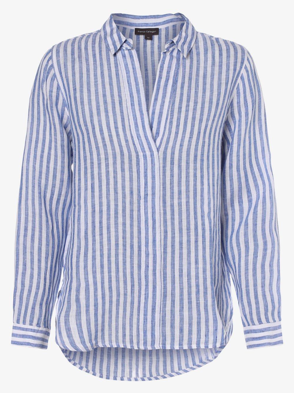 Franco Callegari - Damska bluzka lniana, niebieski