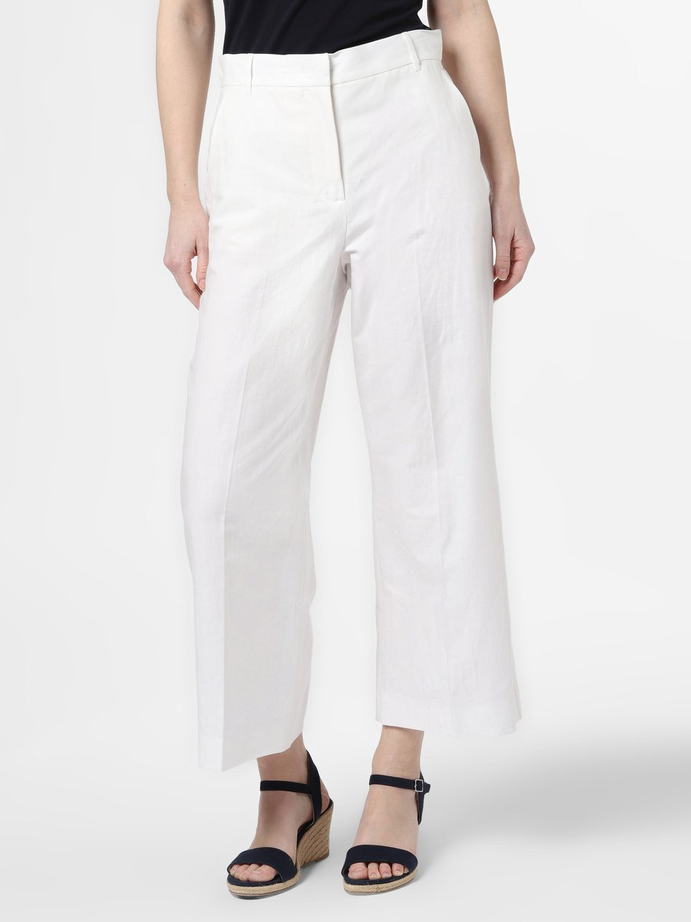 Weekend Max Mara - Spodnie damskie z dodatkiem lnu – Angio, biały